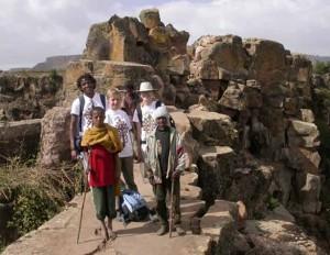Happy tourists on Mnt Abuna Yoseph