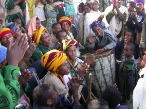 The village at Wajela celebrate Timkat with dancing and singing