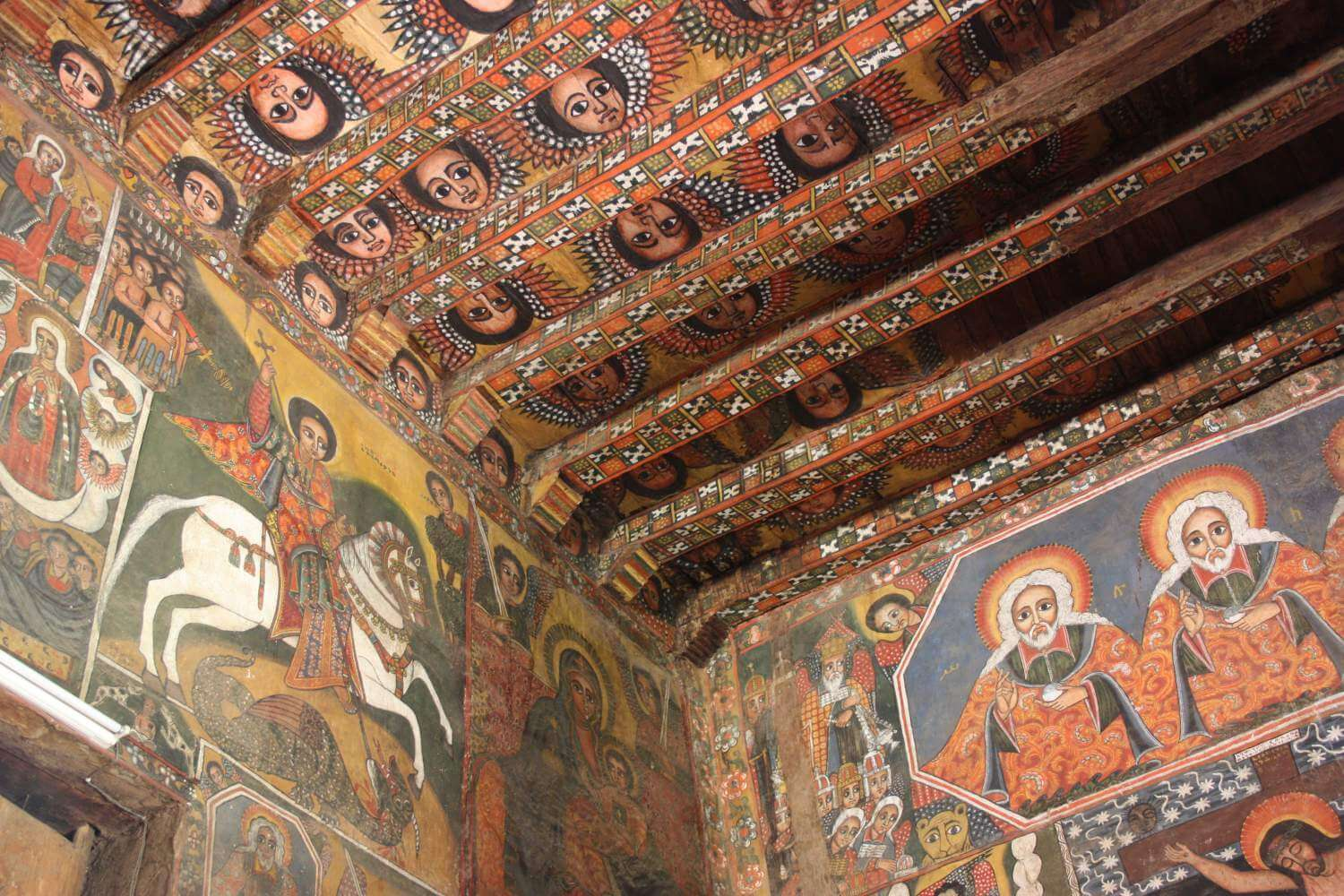 Frescoes in Debre Berhan Selassie church, Gondar