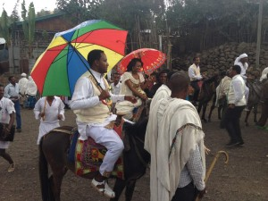 The Bride and groom on mules at wedding