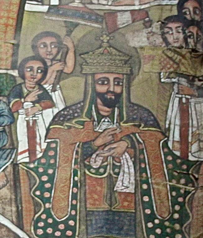 A painting of Saint-King Lalibela, on a canvas in Lalibela