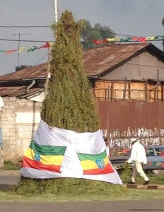 All over Addis decorated bonfires are set up the day before the holiday