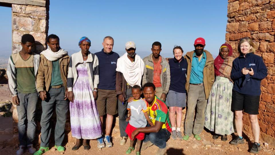Anne and her friends with a community in Tigray