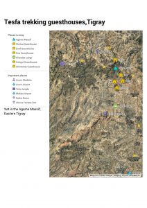 Simple map - Location of Tesfa trek in Tigray
