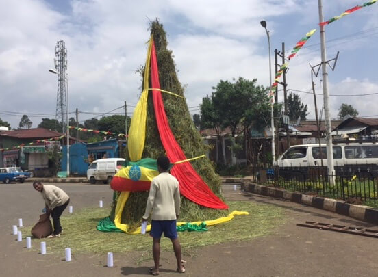 A Meskal Demera (bonfire) built by locals in Addis