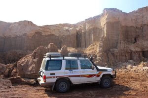 Tesfa Tours Landcruiser by salt canyons in Danakil Depression
