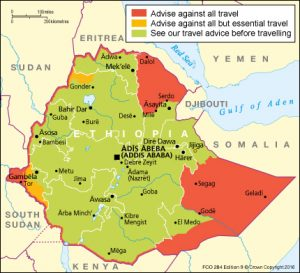 British FCO map advising travellers going to Ethiopia