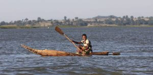 Lake Tana fisherman on a Tankwa,-  papyrus canoe.