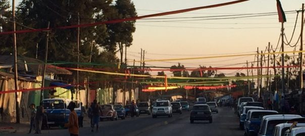 Flags put up on the streets of Addis in preparation for the Timkat processions on 18th - 20th Jan
