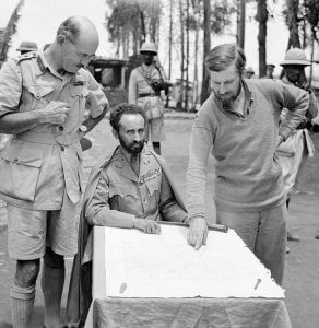 Haile Selassie with Brig. Sandford & Col. Wingate