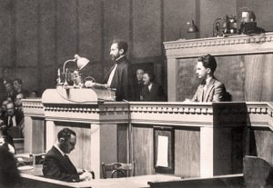 Haile Selassie speaks at the League of Nations